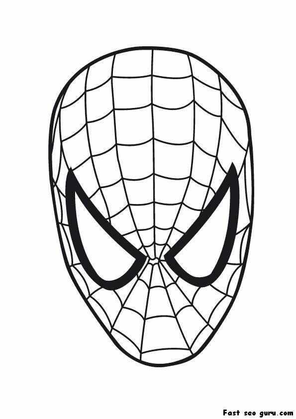Printable superheroes spiderman maske coloring pages for Immagini spiderman da colorare