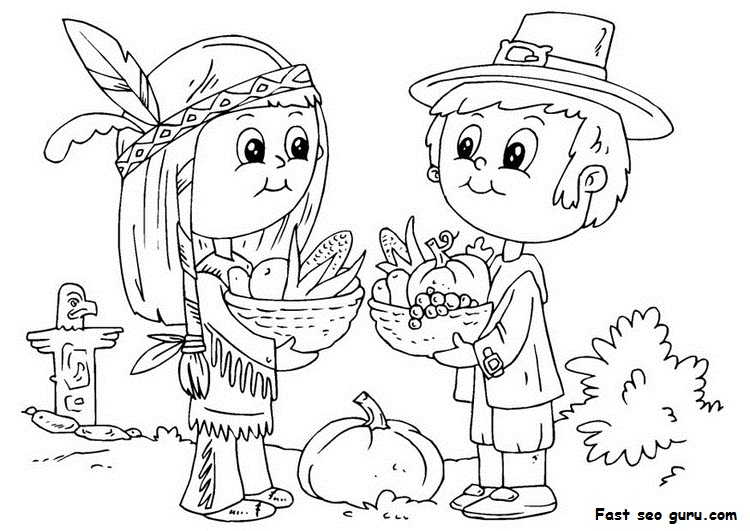 Native American And Pilgrim Coloring Page