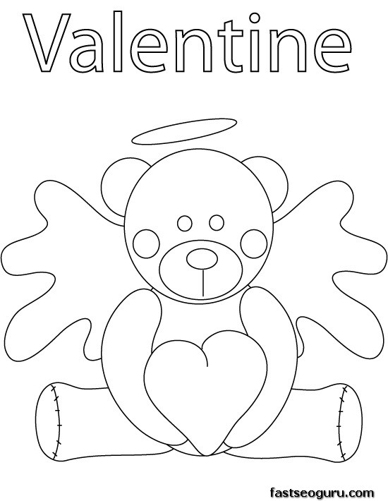 Printable valentine bear coloring pages printable for Valentine bear coloring pages