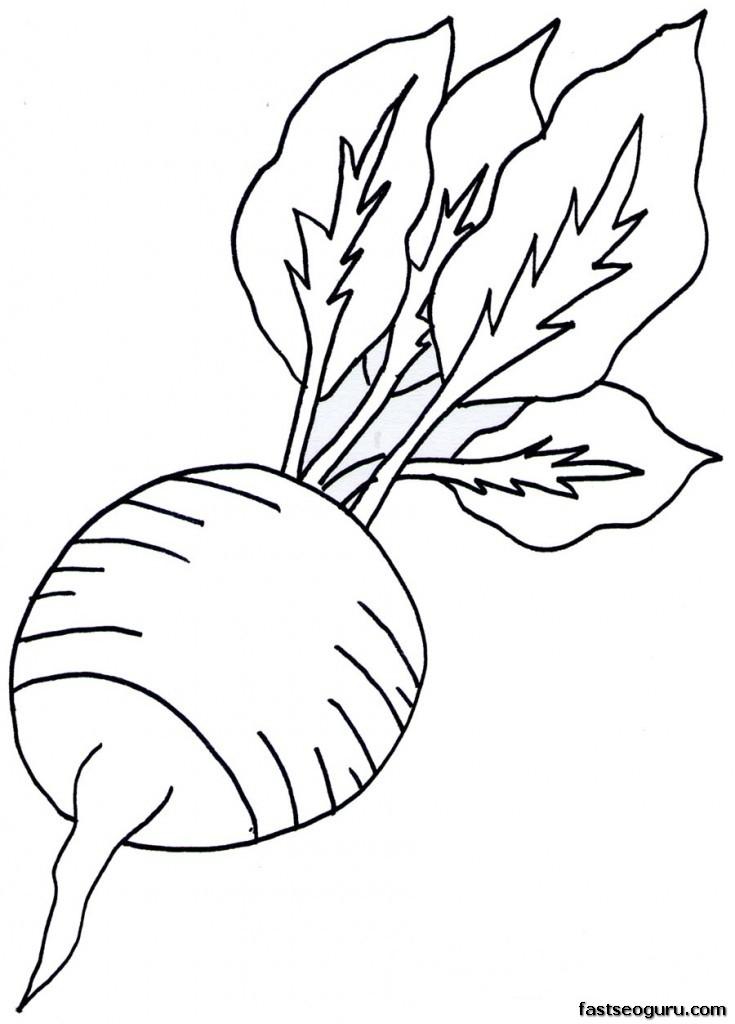 Printable Vegetable Radish Coloring
