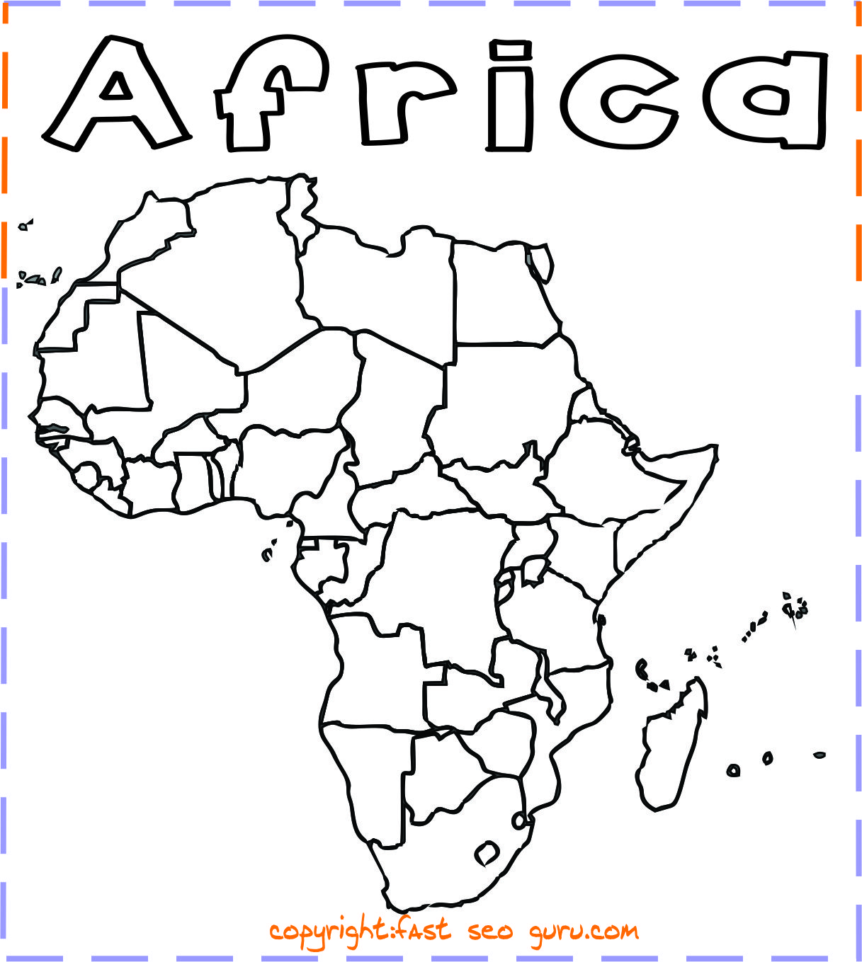 Africa Map Coloring Page Printable africa map coloring page