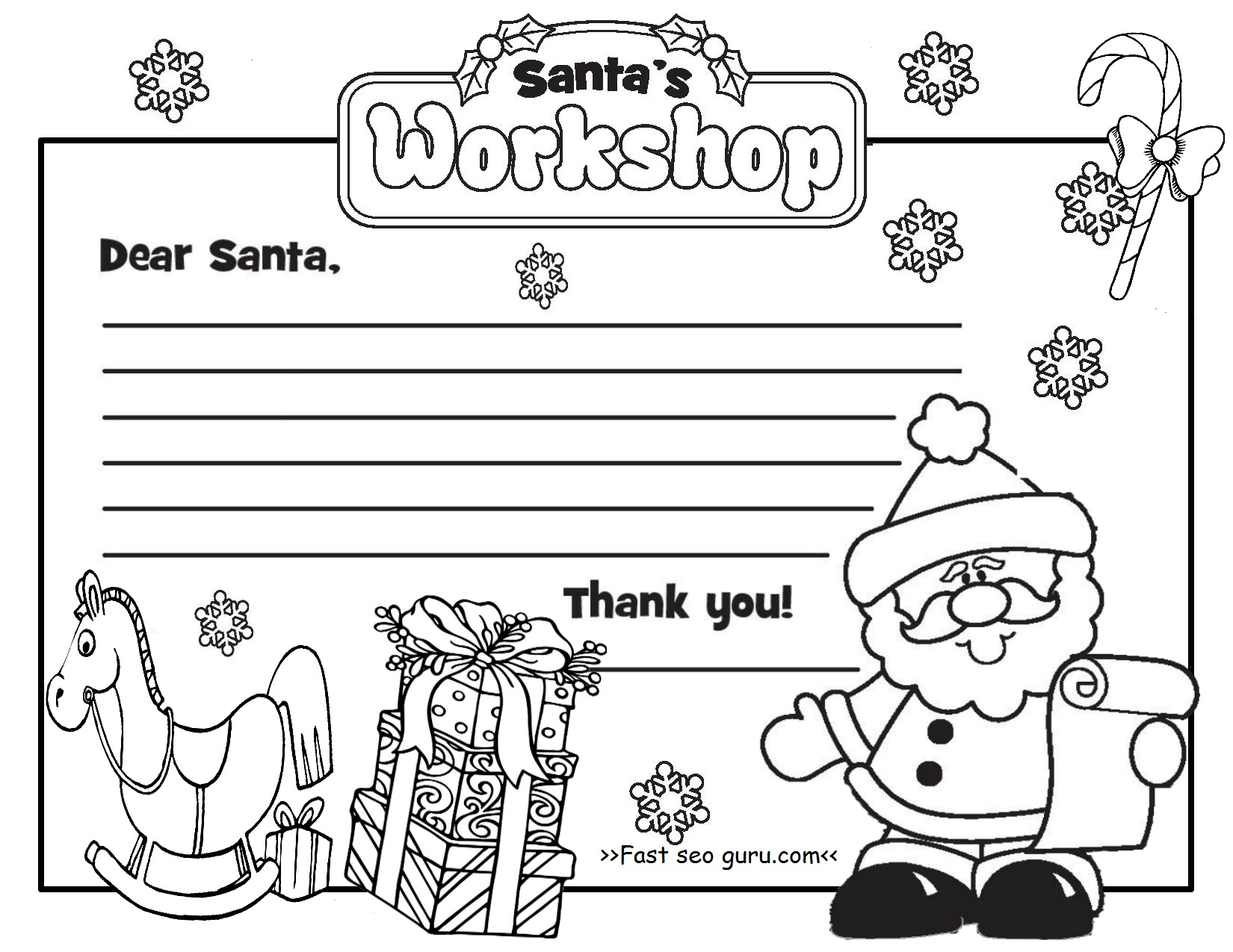 Printable Christmas Letter To Santa Claus Write Template Letter To Santa Coloring Page