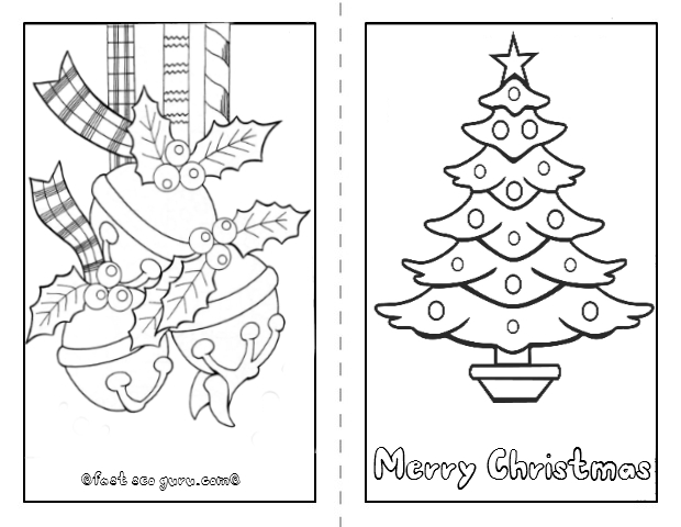 Printable christmas tree card to color in page for kids