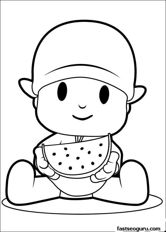 Printable coloring pages pocoyo eating watermelon for Printable watermelon coloring pages