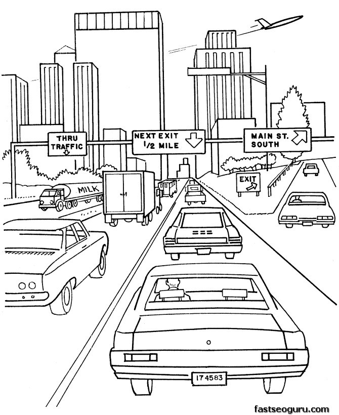 Printable coloring pages cars on highway Printable