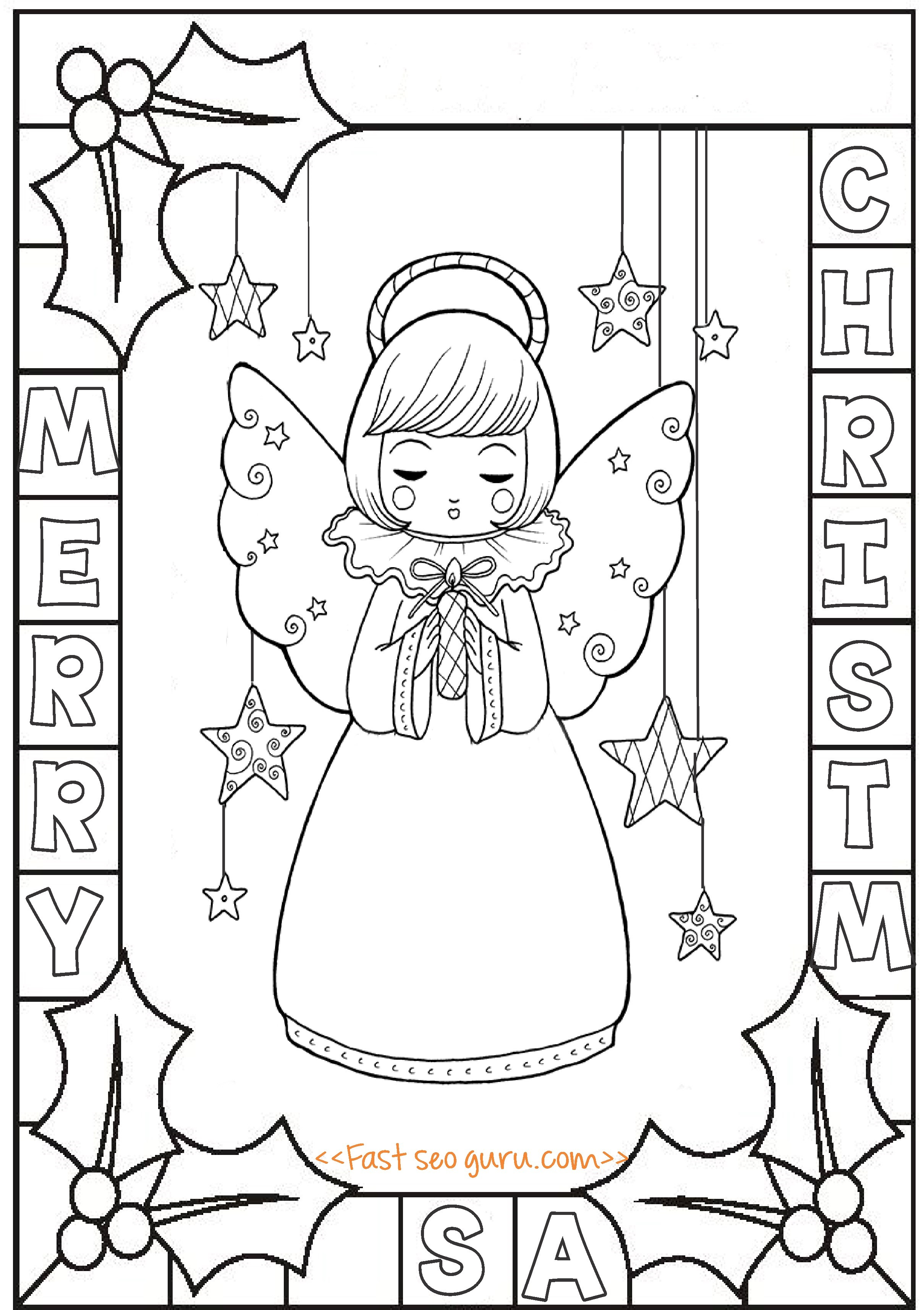 Holly printable coloring pages | 3430x2419