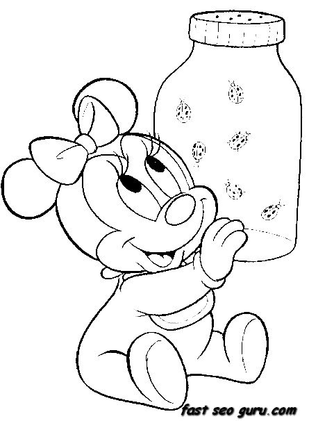 Baby Minnie Mouse Coloring Pages Printable For