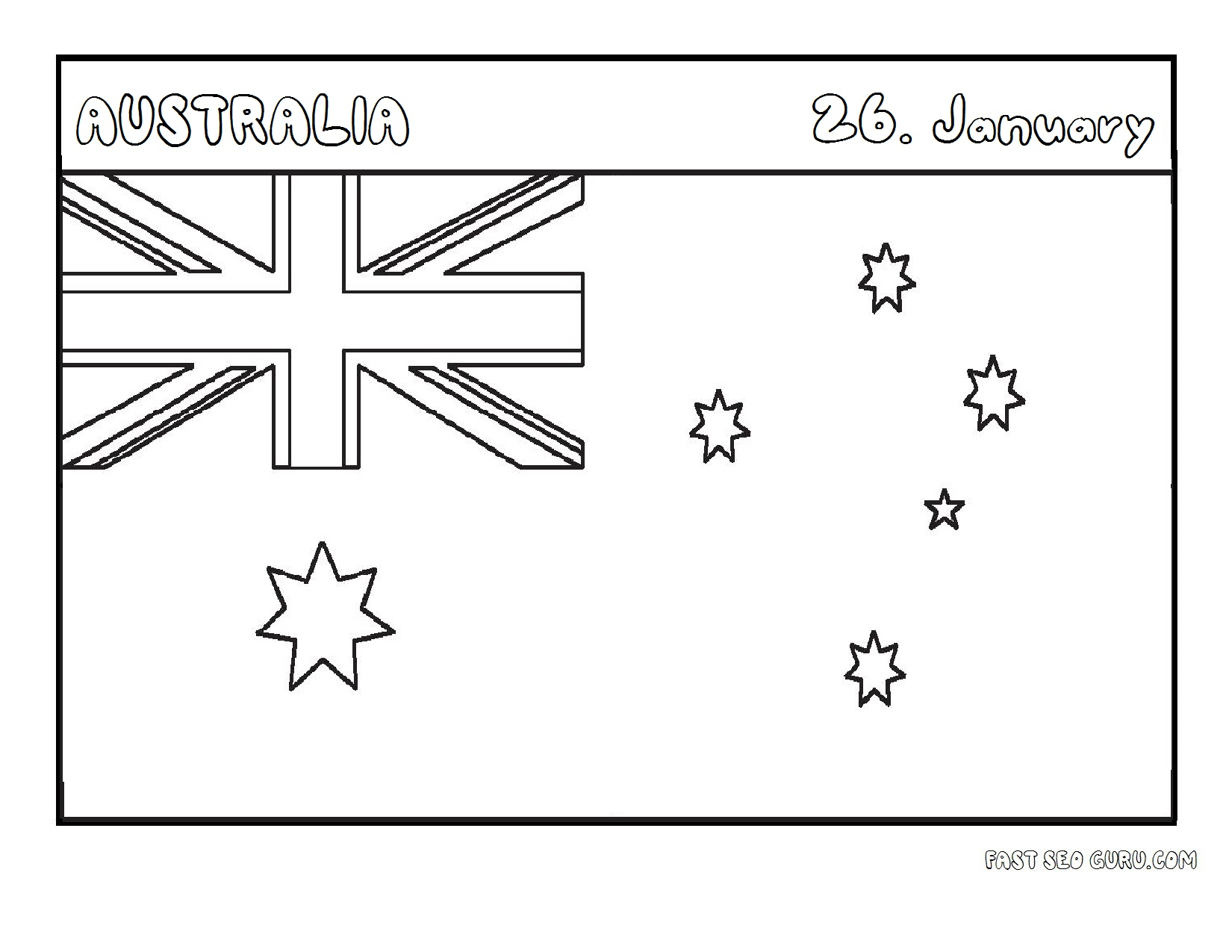printable flag of australia coloring page