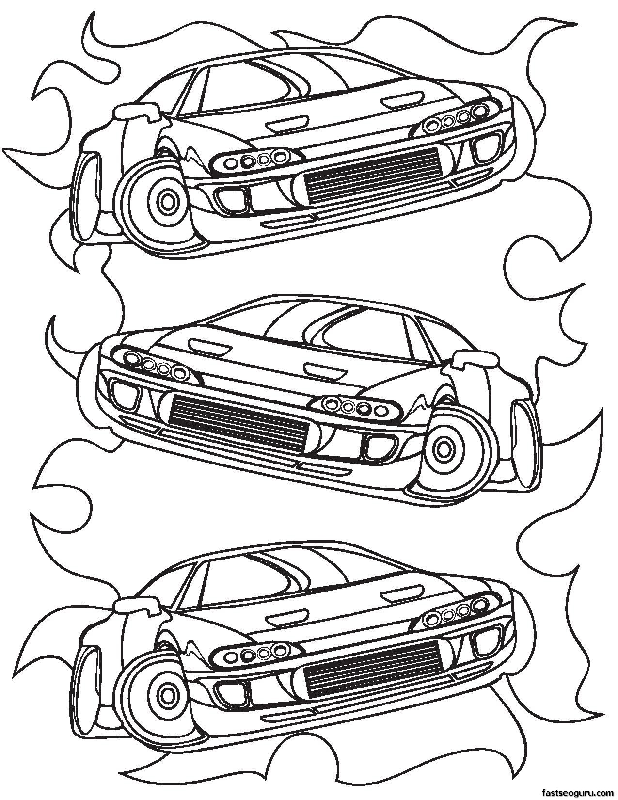 Printable for boy Race Car Coloring