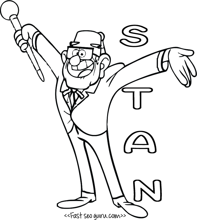 Gruncle Stan Gravity Falls Coloring Pages To Print Gravity Falls Printable Coloring Pages