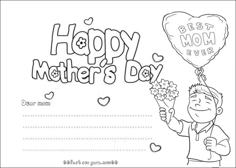 Thank You Mom Happy Mothers Day Template For Kids