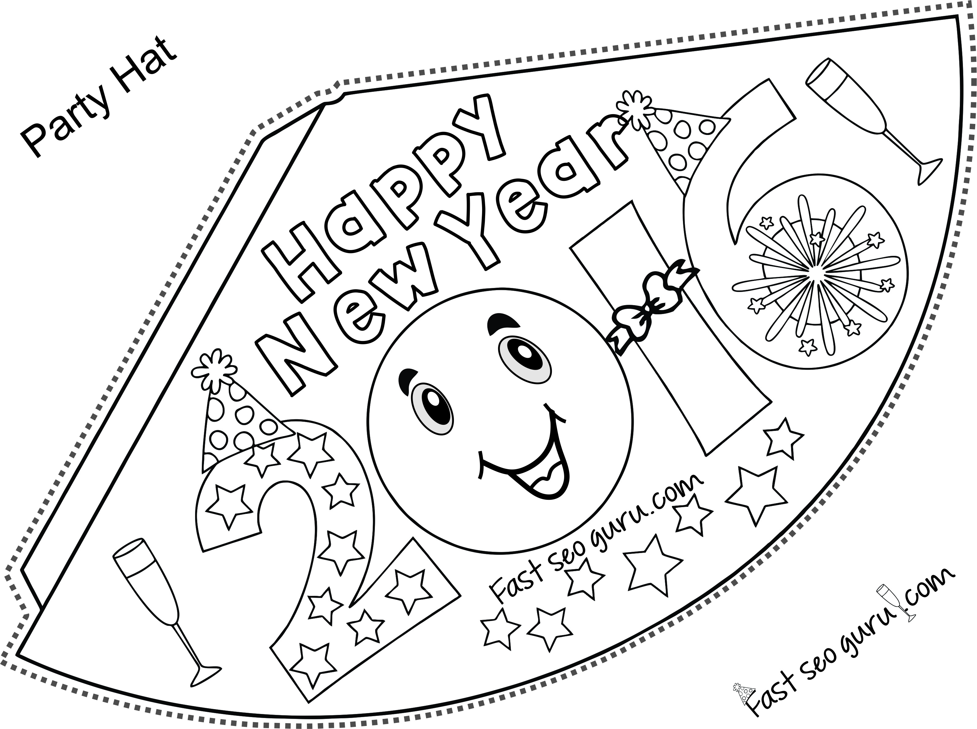 The Gallery For Gt New Year Party Hat Coloring Pages
