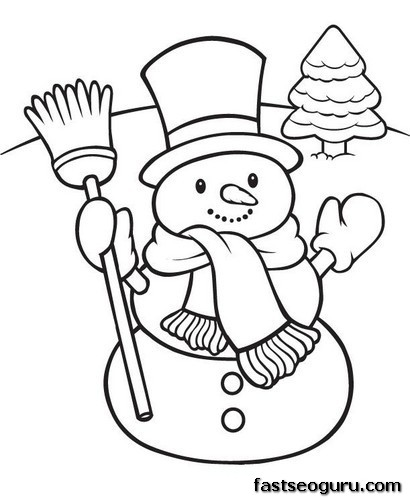 Printable happy snowman christmas coloring pages for Free coloring pages snowman