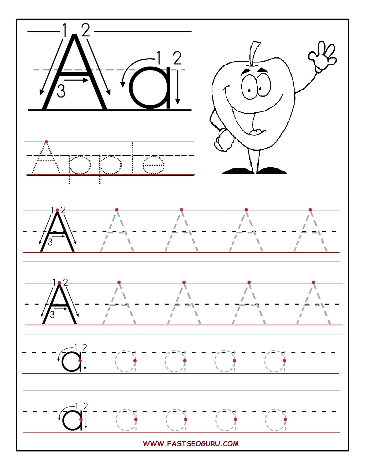 ... worksheets for preschool letter a for appel worksheets for kids
