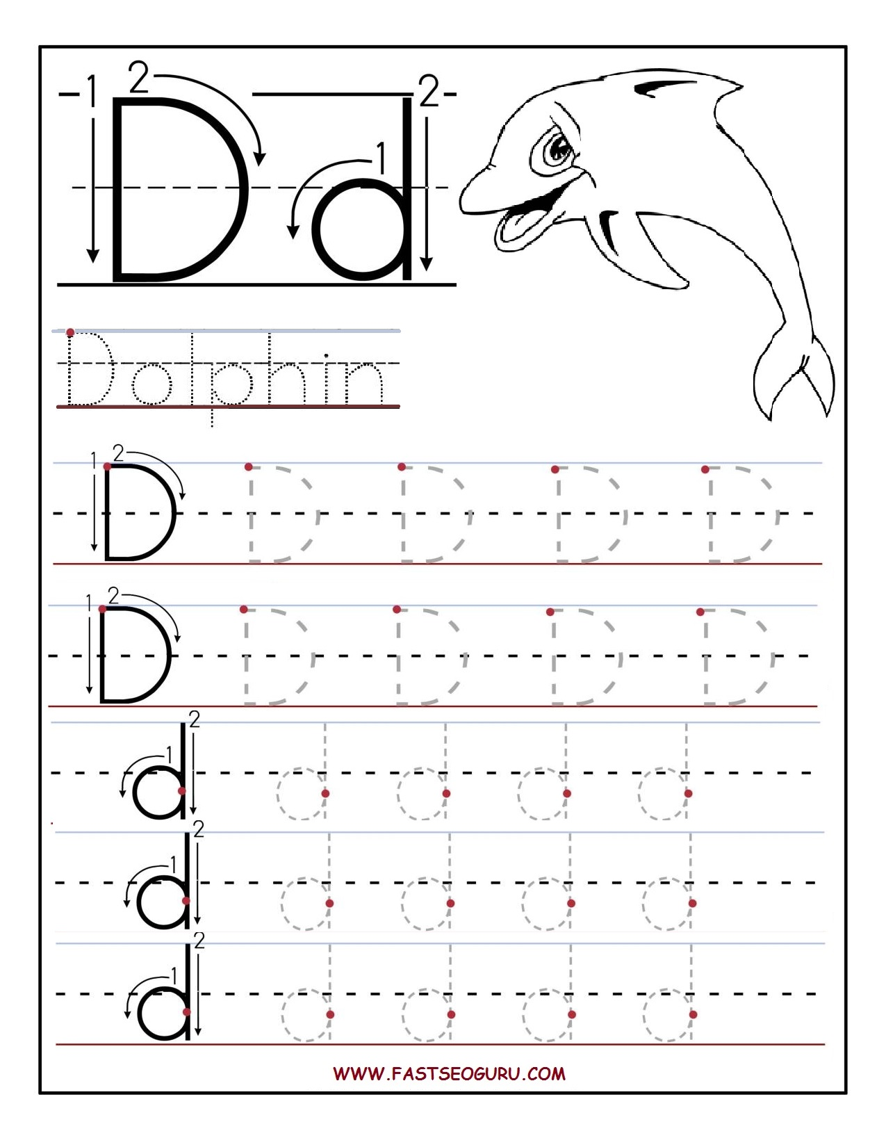 tracing worksheets letter d and printable letters on pinterest. Black Bedroom Furniture Sets. Home Design Ideas