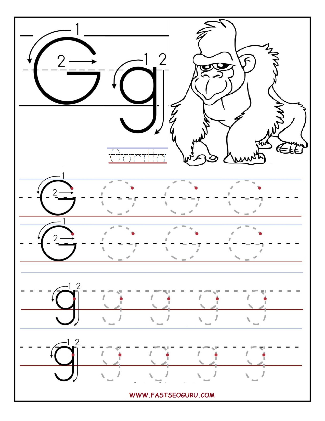 picture relating to Printable Letter G named Printable letter G tracing worksheets for preschool