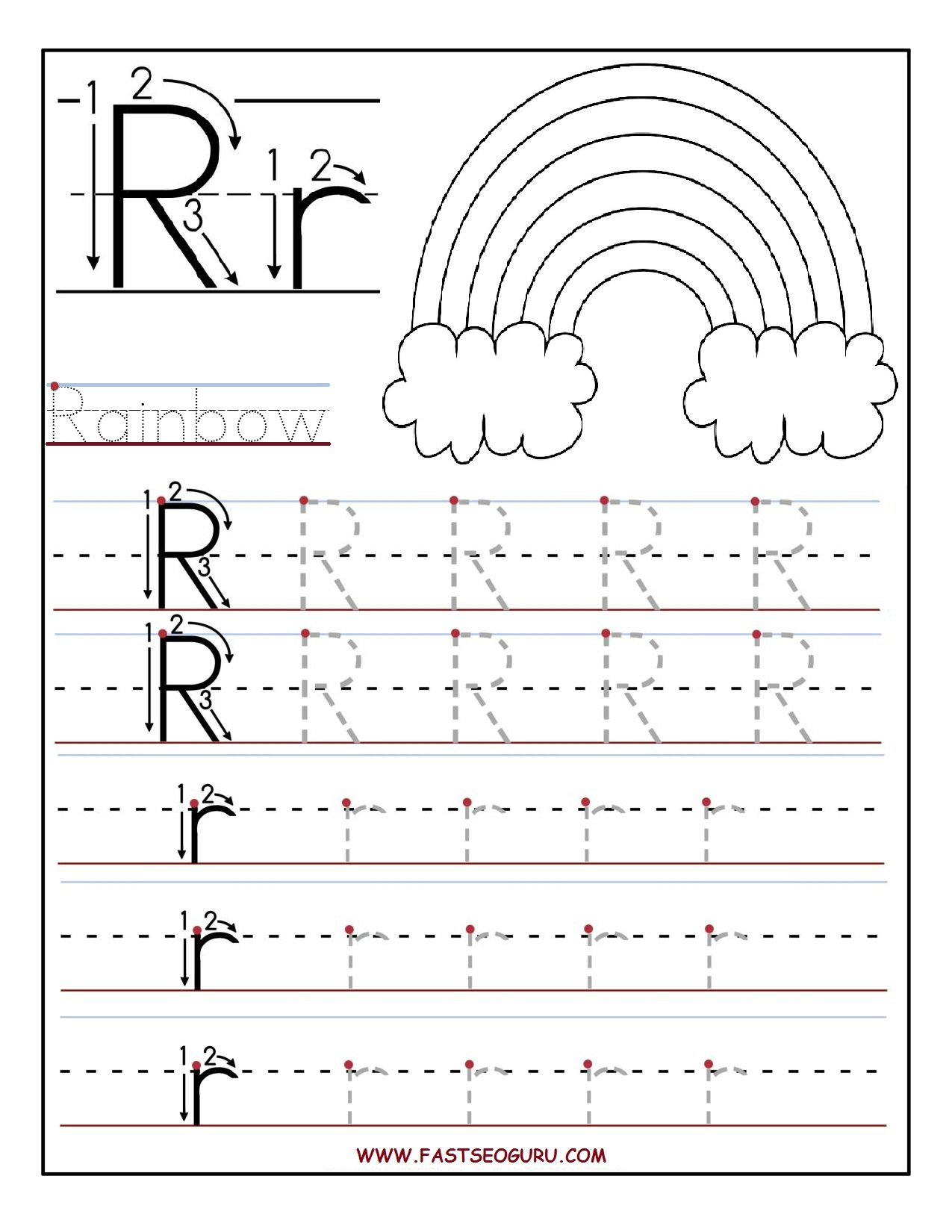 Printable letter R tracing worksheets