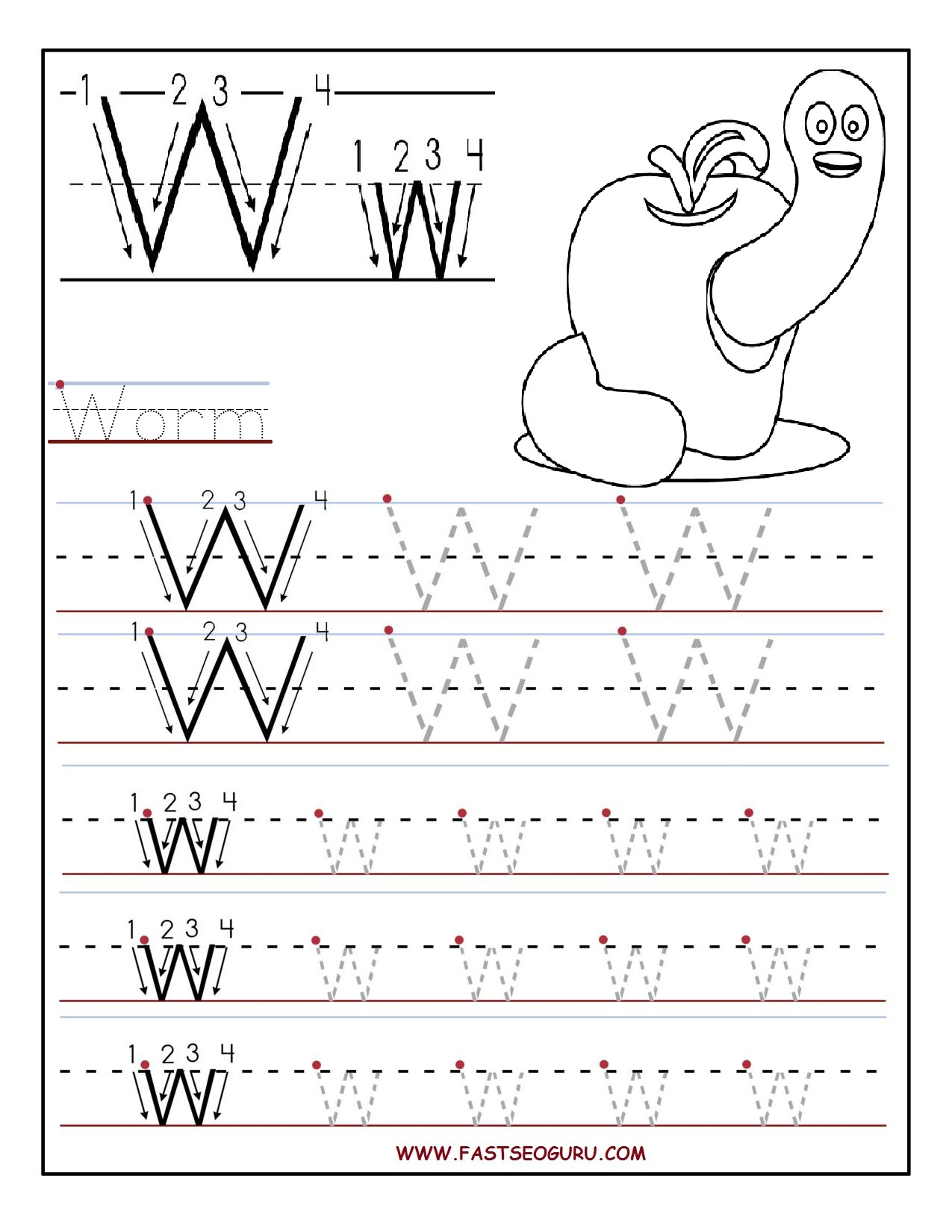 Letters Alphabet Tracing Worksheets For Kindergarten In Addition ...