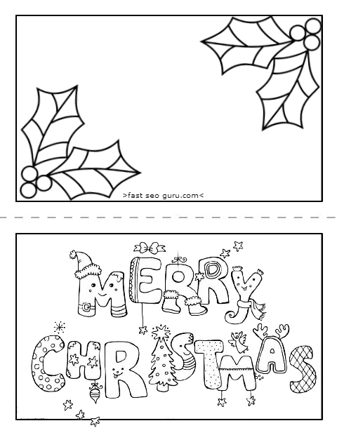 printable merry christmas card coloring page for kids download