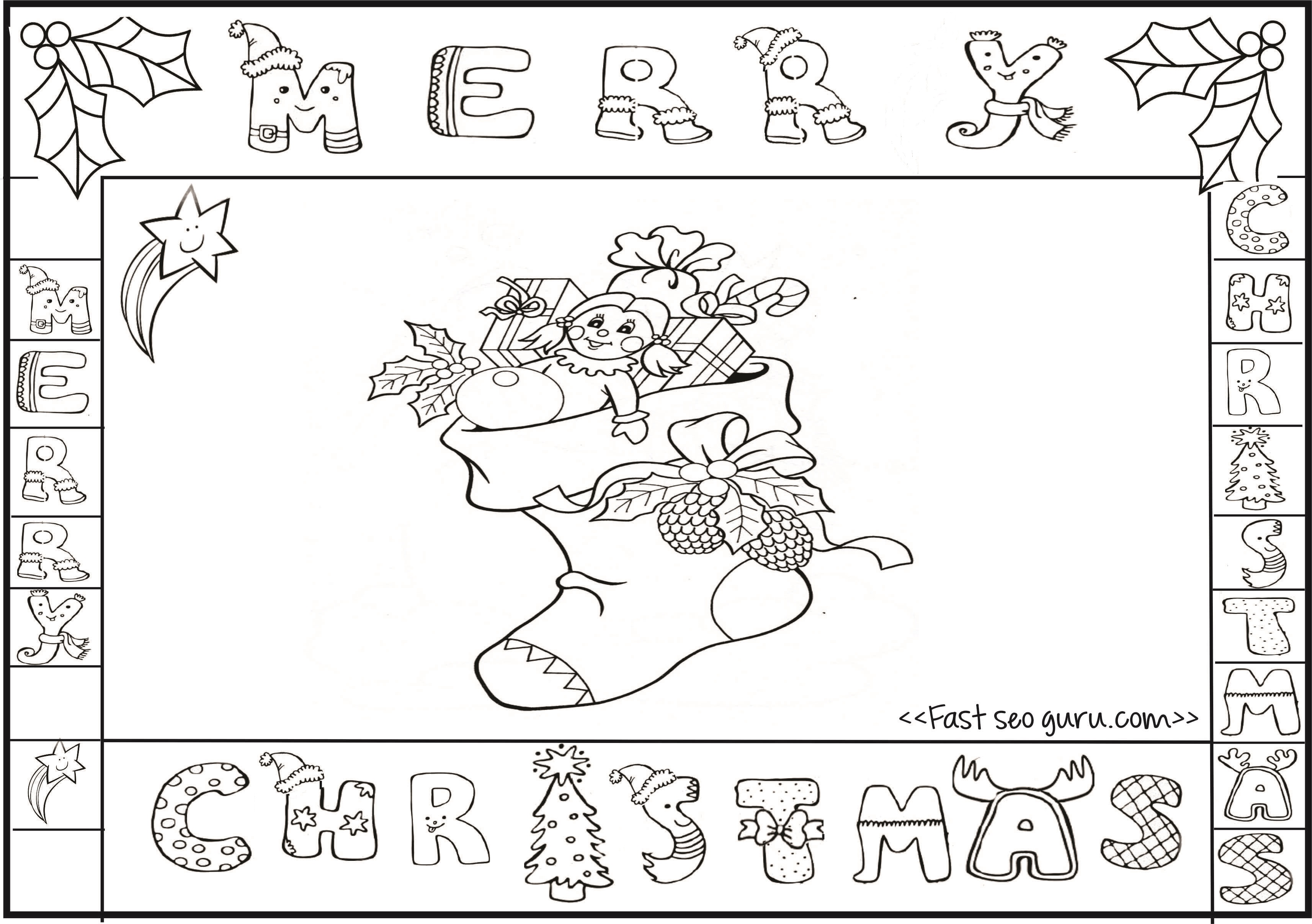 Printable merry christmas stocking colorng pages