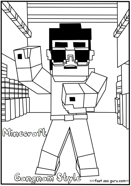 Printable minecraft gangnam style coloring page for kids for Minecraft da colorare