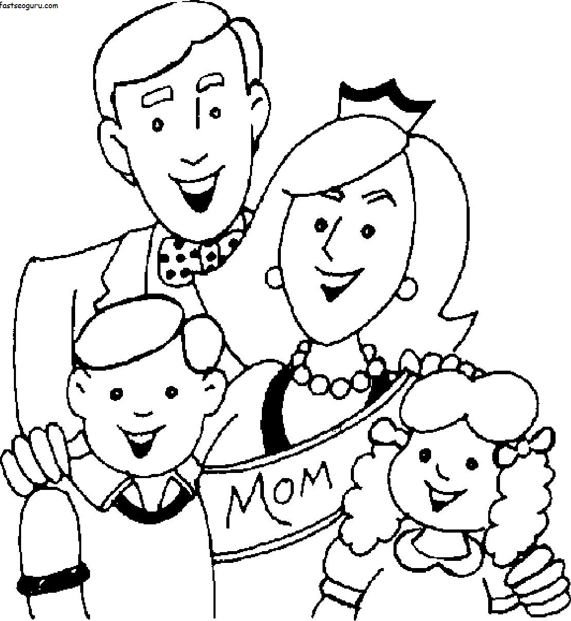 Printable mothers day with happy family coloring page for Printable family coloring pages