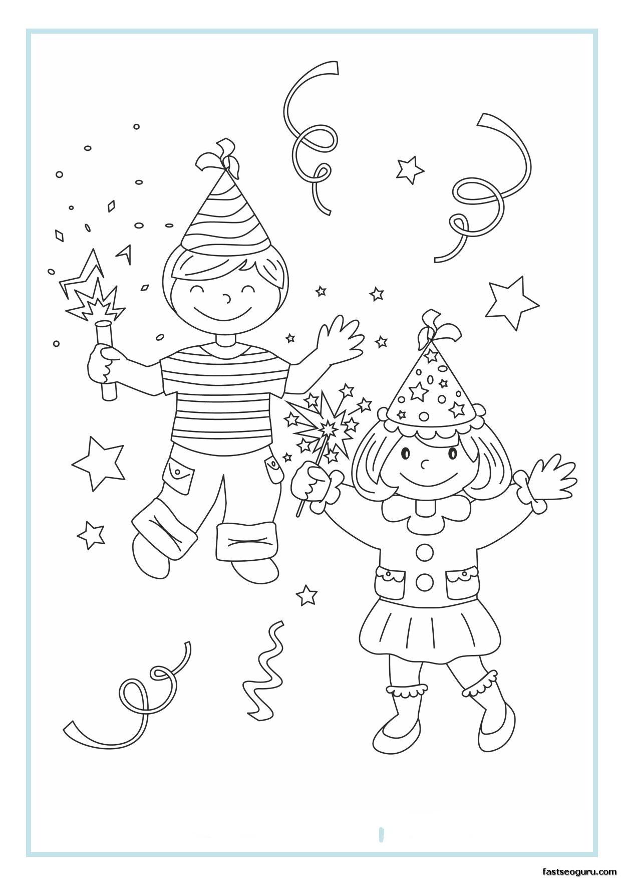 Printable new year coloring sheet