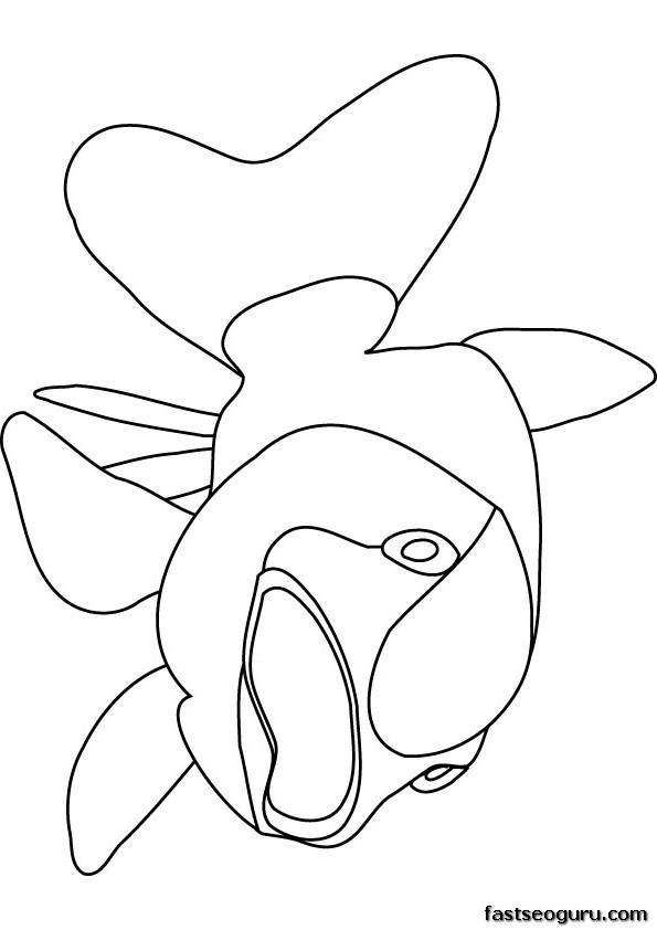 Printable ocean bigmouth fish coloring