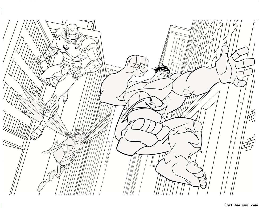 Avengers Coloring Pages Iron Man : Printable the avengers iron man hulk coloring pages