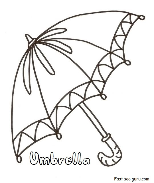 Printable umbrella coloring in pages for preschool for Printable umbrella template for preschool