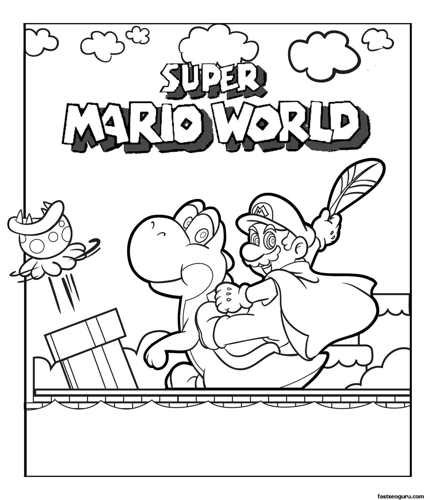 Print out Super Mario world coloring