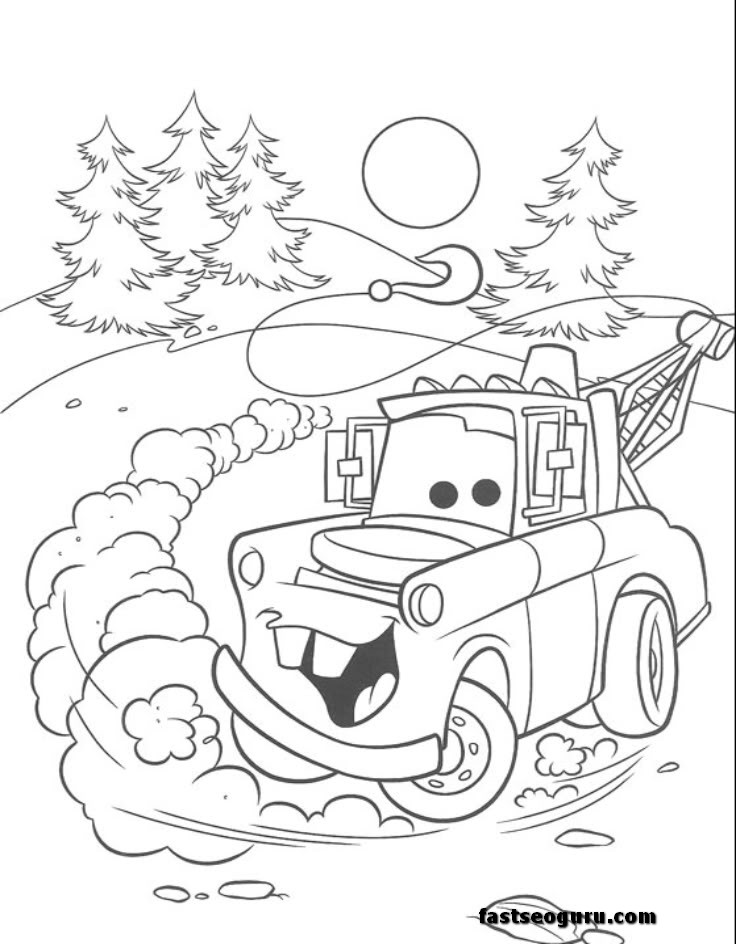 Tow Mater car 2 movies coloring page print out Printable