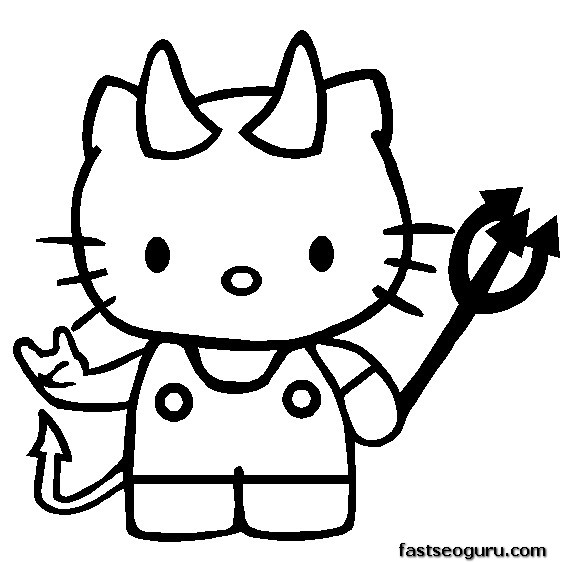 Hello Kitty Halloween Coloring Pages To Print : Hello kitty halloween printable coloring pages