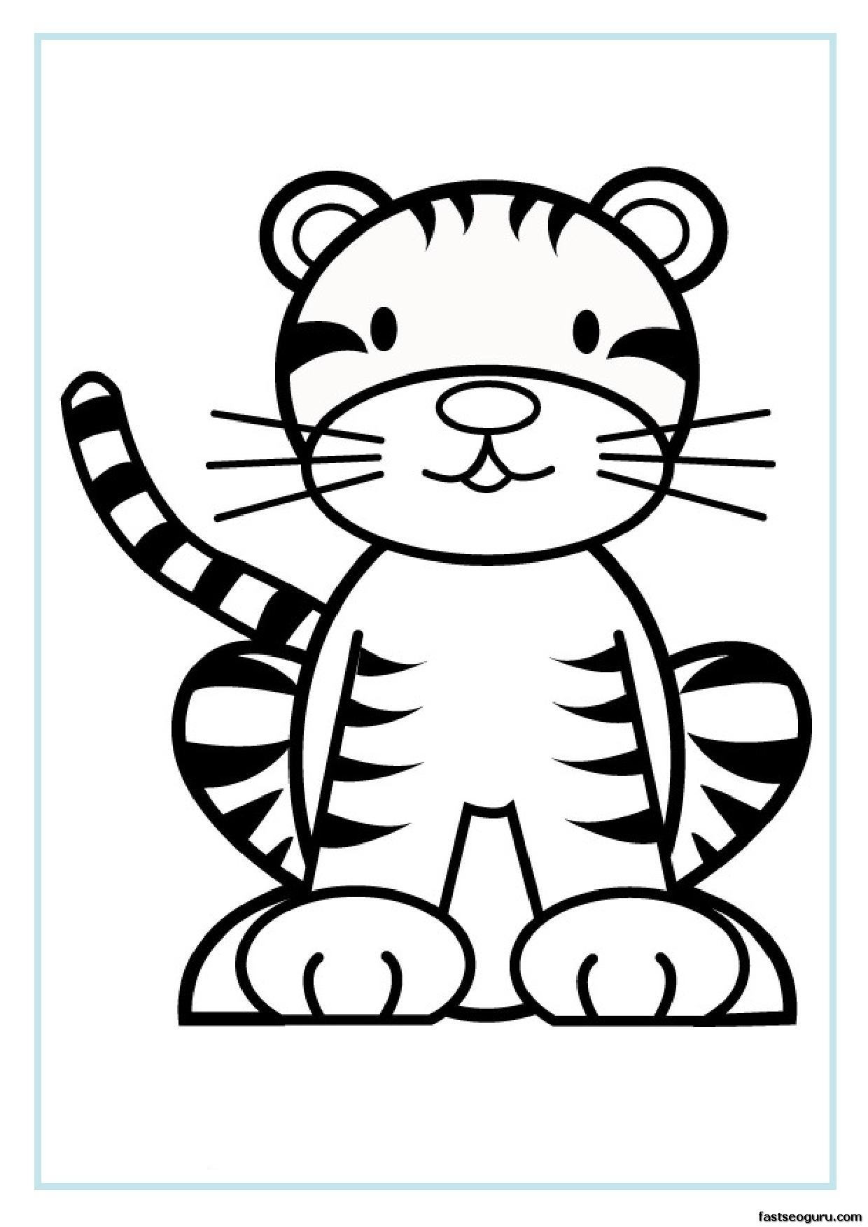 photo about Tiger Printable referred to as Absolutely free printable animal tiger little one colouring sheet for young children