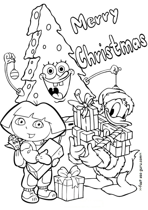 printable christmas dora spongebob and donald duck coloring pages. Black Bedroom Furniture Sets. Home Design Ideas
