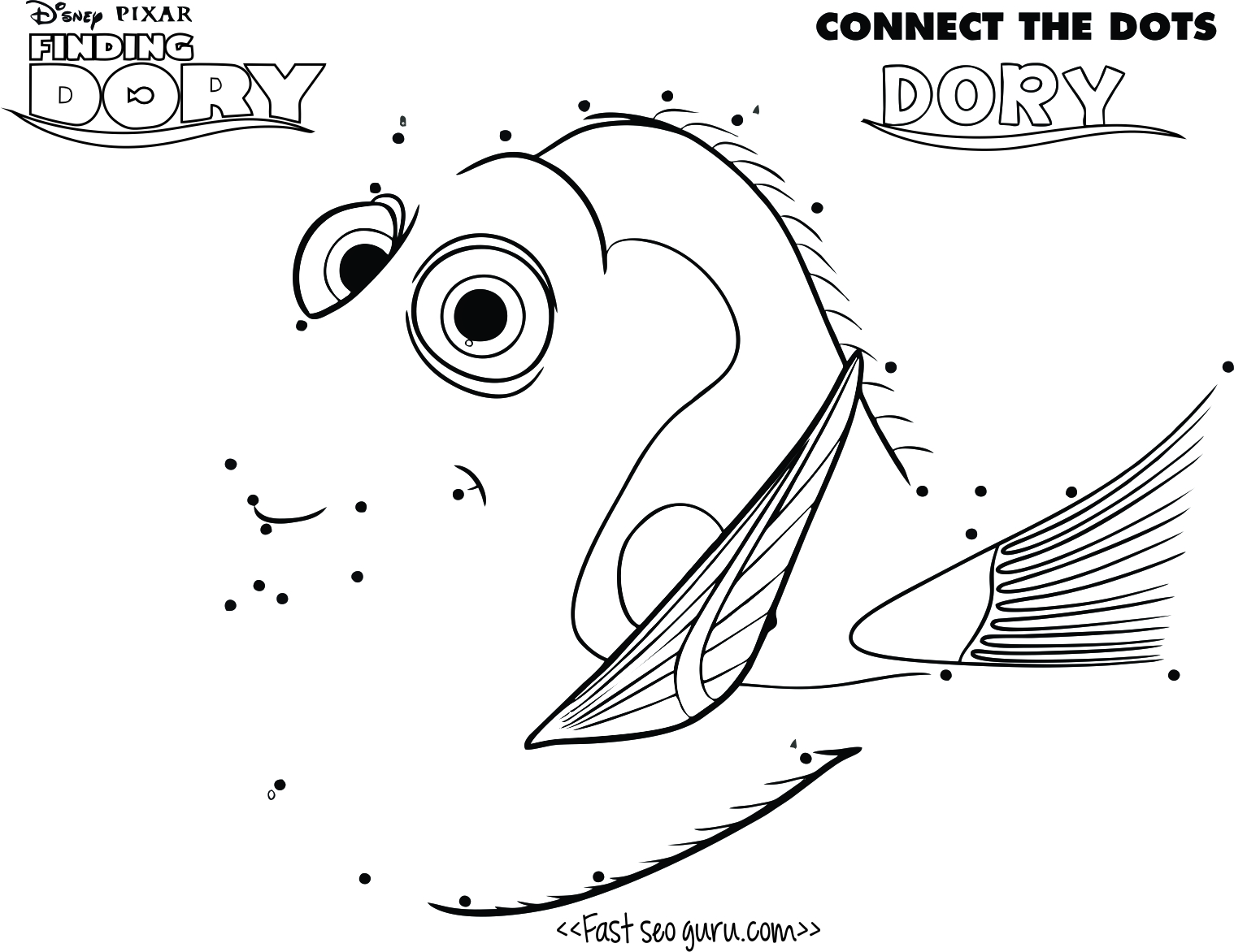 Printable Finding Dory Connect The Dots Disney Page For Kids
