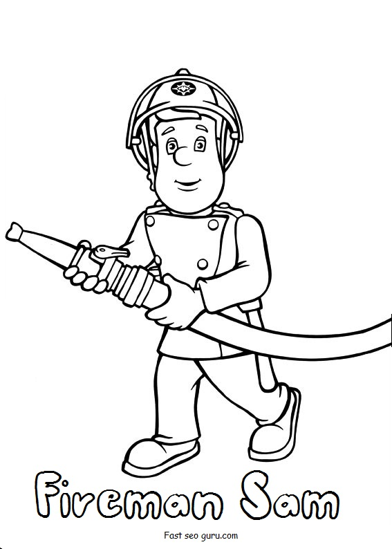 Printable fireman sam coloring pages for Coloring pages fireman sam