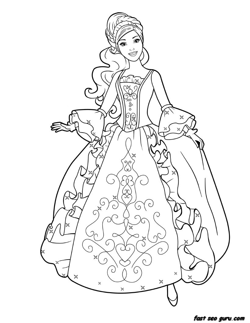 Printable Barbie Princess Dress Book Coloring Pages Print Princess Coloring Pages