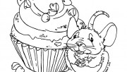 Print out mouse eats the muffin coloring book pages