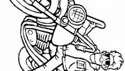 Boy on motorcycle coloring page for kids