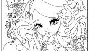 Printable beautiful face barbie coloring pages