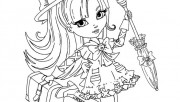 Printable happy fashion girl doll coloring book pages