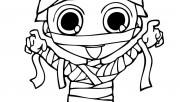 print out halloween kids mummy coloring page