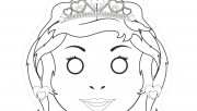 Printable cut out princess mask coloring in mask