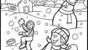 Printable kid snowball fight game coloring pages