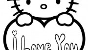 Hello kitty valentines day coloring pages for kids