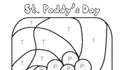 Printable St. Paddys day pot of gold color by number