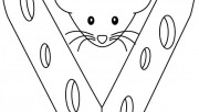Printable the mouse and cheese coloring pages