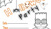Printable kids halloween party invitations The Simpsons Bart