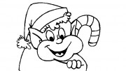 Printable Coloring pages of Christmas Elves in kids socks